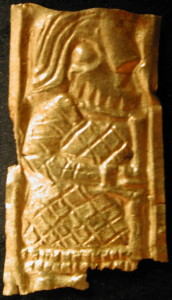 Guldgubber depicting a staff bearer with a beard