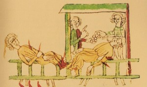 A picture from the Heidelberger Sachsenspiegel (cpg 164) showing to the left a mortally injured man and on the right the same man dead
